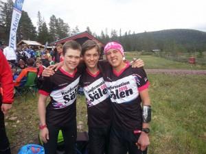 Viktor B, Björn och Felix var taggade inför dagens tävling!